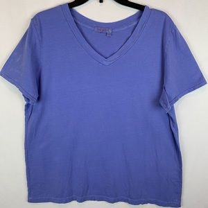 Fresh Produce Solid Blue T Shirt Sz 1X V Neck
